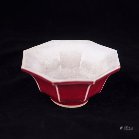 A OCTAGONAL RED-GLAZED BOWL, WITH DAOGUANG MARK