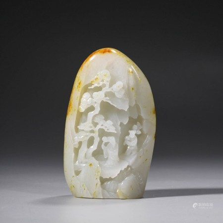 A Jade Carved Pine and Figures Ornament
