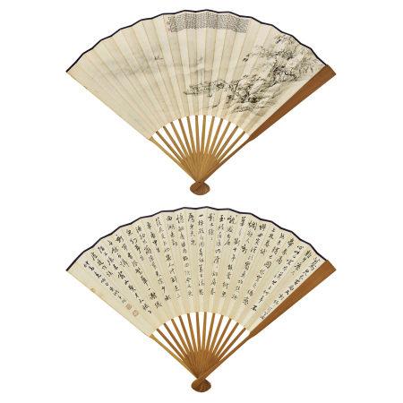 吳青霞(1910-2008)、張栩 (不詳) 溪岸江帆圖、行書