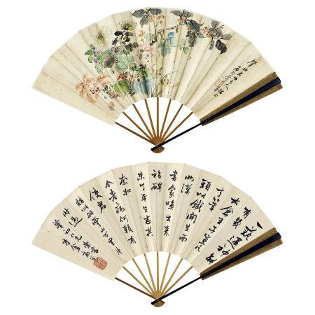 李墅(1843-不詳) 、高邕 (1850-1921)  花卉、行書