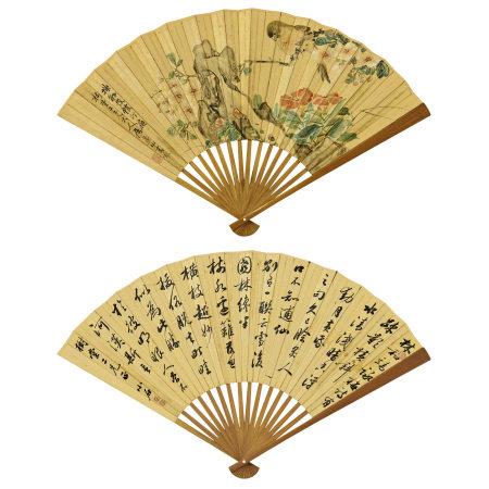 沙馥(1831-1906)、譚文壽 (清) 花鳥圖、行書
