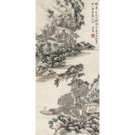 溥儒 (1896-1963) 溪山釣艇圖