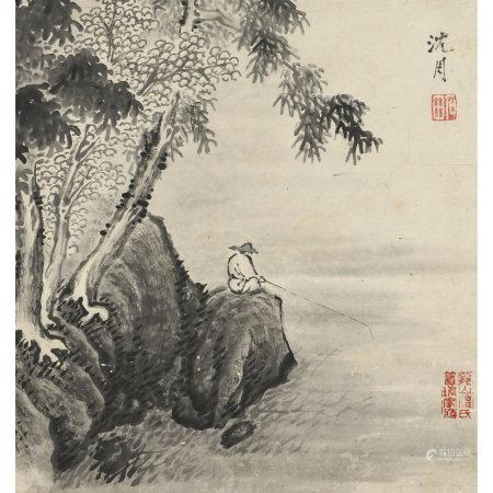 沈周 (1427-1509) 溪岸垂釣圖