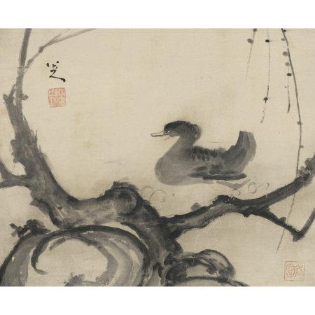 朱耷 (1626-約1705) 柳塘鴨戯圖