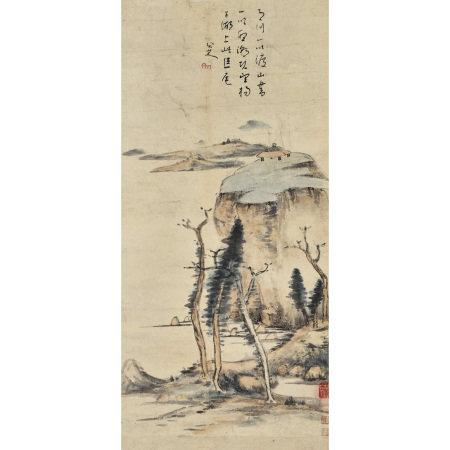 朱耷 (1626-1705) 設色山水圖