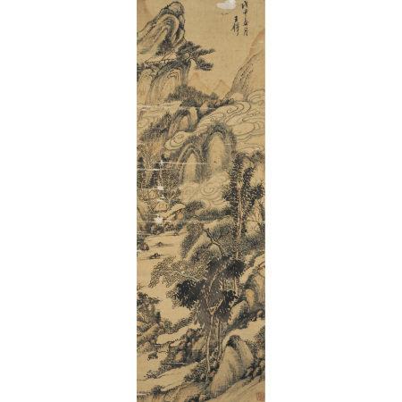 王鐸 (1592-1652) 設色山水軸
