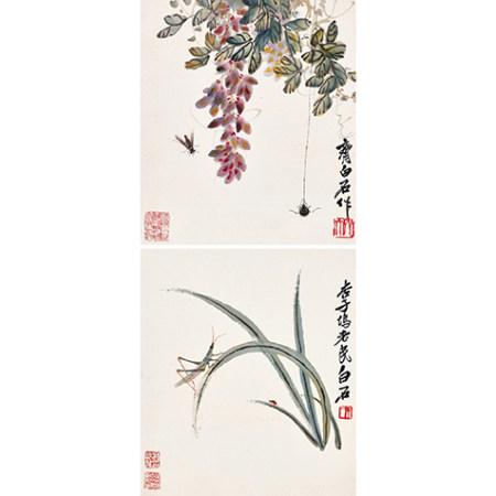 齊白石 (1864-1957) 工筆草蟲兩幀