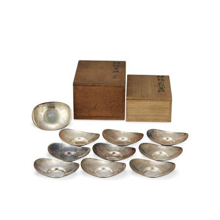 三世蔵六純銀五清圖小判形茶托10枚(共箱)