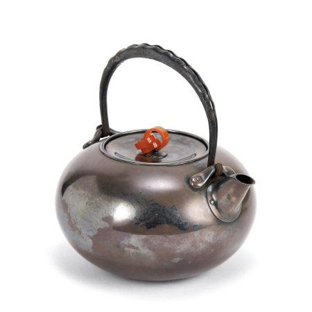 真鍋靜良南鐐鐵之手瑪瑙摘壺(共箱)