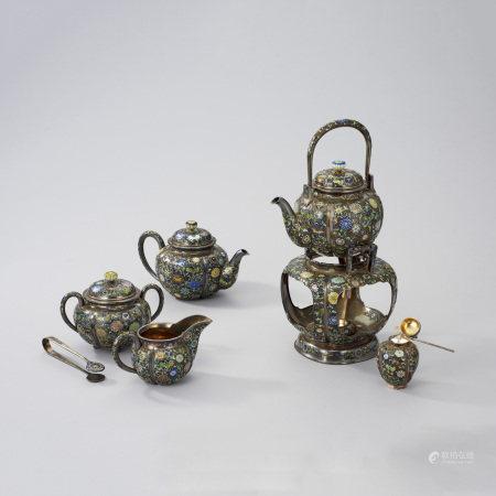 銀嵌七寶茶器一式