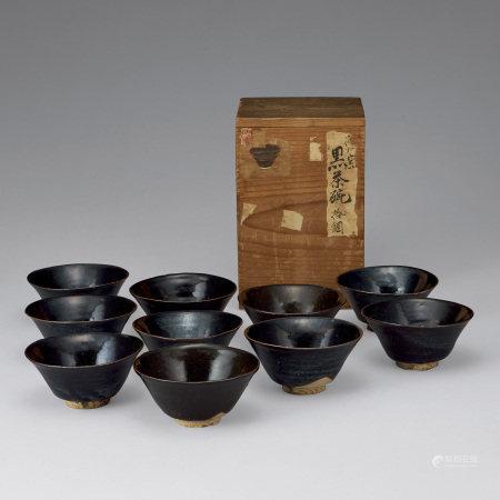 明 黑釉煎茶碗10客