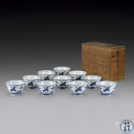 明嘉靖 青花煎茶碗10客