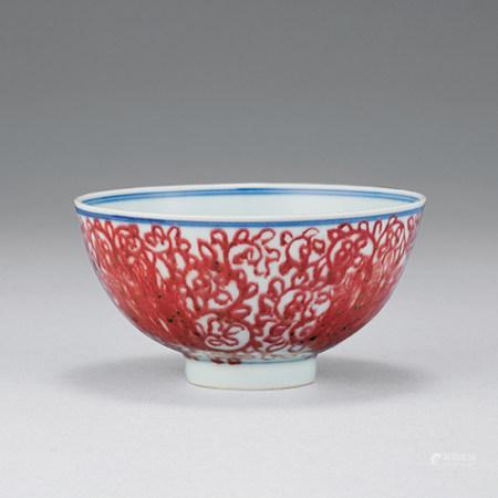 清 釉裡紅纏枝花卉紋碗
