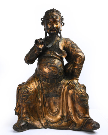 A Large Finely Casted Gilt Bronze Figure Of Guandi
