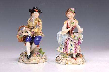 Porzellanfigurenpaar, Scheibe Alsbach, um 1900, Gärtner und Gärtnerin, bunt bemalt [...]