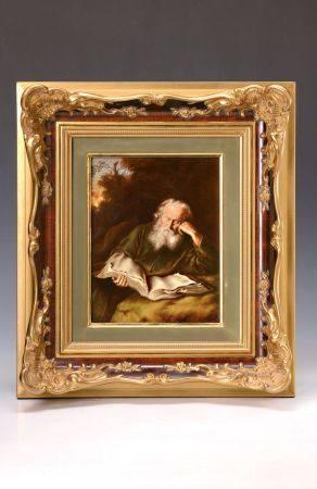 """Porzellangemälde """"Der Einsiedler"""", Rosenthal, 20/30er J., nach einem Gemälde von S. [...]"""