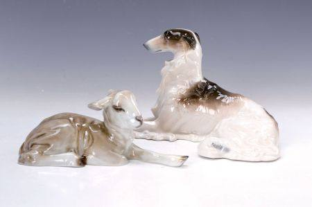 Zwei Porzellanfiguren, 1x Schäfchen, Rosenthal, Entwurf Willy Zügel, um 1928-29, [...]