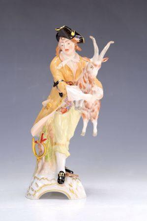 Porzellanfigur, KPM Berlin 20.Jh., junger Hirte mit Pfeife rauchendem Ziegenbock, [...]