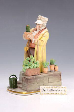 Porzellanfigur, deutsch, 2.H.20.Jh., Der Kakteenfreund nach einem Spitzweg-Gemälde, [...]