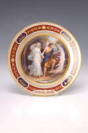 Prunkteller, Dresden nach Wiener Vorbild, um 1850/60, Romeo und Julia, verso bez., [...]
