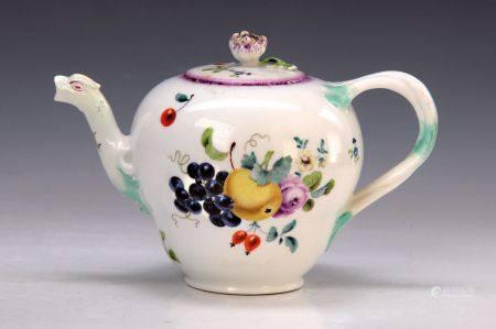 Kännchen, Meissen, 18. Jh., Porzellan, feine bunte Malerei von Obst und Blumen, [...]