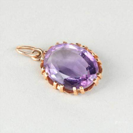 14k gold and 7.2 carat amethyst pendant. FR3SH.