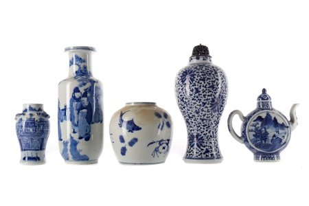 A CHINESE BLUE AND WHITE VASE, TWO OTHER VASES AND A TEA POT AND A JAR