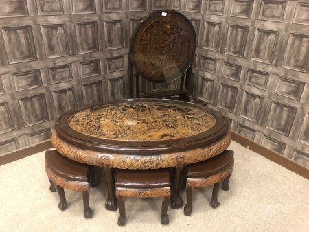A CHINESE SET OF TABLES AND A TABLE/SCREEN