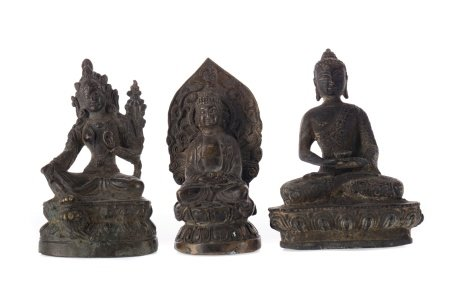 A LOT OF THREE EASTERN BRONZED FIGURES