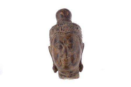 AN EASTERN CAST METAL BUDDHA HEAD