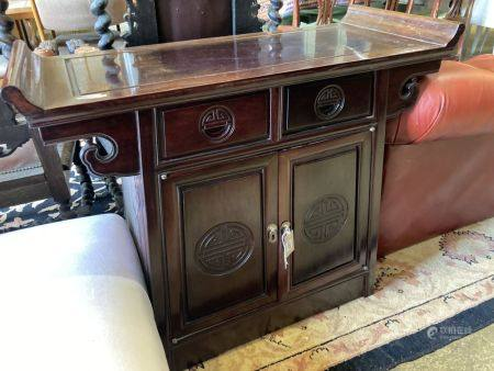 A Chinese carved hardwood side cabinet, width 95cm, depth 41cm, height 81cm