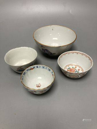 An 18th century Chinese famille rose bowl, 11.5cm diameter, and three smaller Chinese porcelain