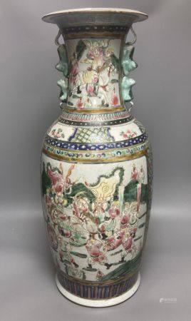 A large 19th century Chinese famille rose vase, painted with figures, 58cm