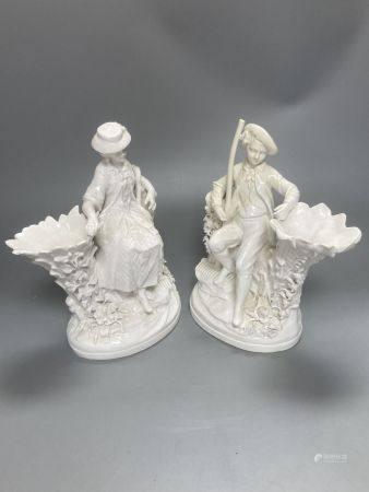 A pair of John Bevington bone china figures, gardener and female companion, 21.5cm