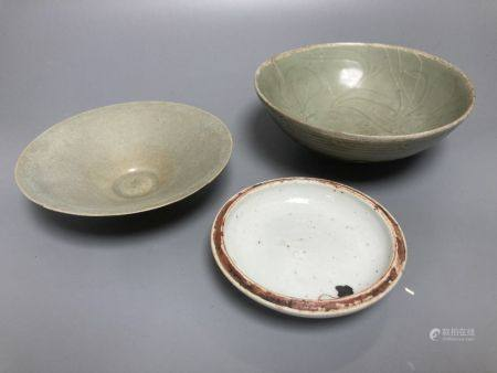 A Chinese Longquan celadon bowl, Song dynasty, 16cm, a conical celadon dish and a seal paste box