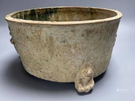 A Chinese Han dynasty green glaze pottery tripod vessel, ding, diameter 27cm