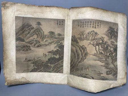 A pair of Chinese paintings on silk, Qing dynasty, each 26 x 22.5cm