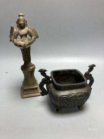 A Chinese bronze censor and a Buddhist figural stoop, stoop, 23cm high
