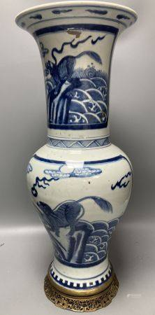 A large Chinese blue and white yen-yen vase with ormolu mounts, 54.5cm