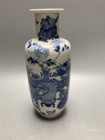 A late 19th century Chinese blue and white rouleau vase, height 25cm