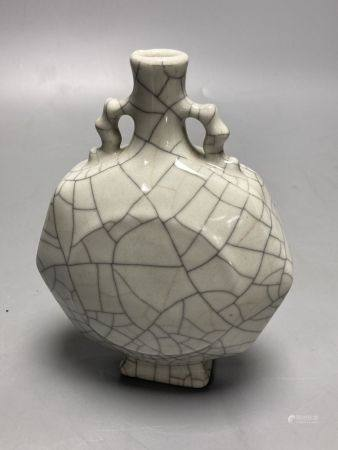 A small Chinese crackleware two-handled vase