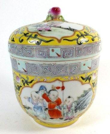 A 19thC to Republic period Chinese Famille Jaune porcelain jar and lid with finely painted