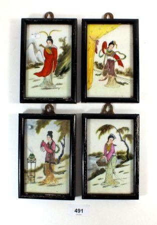A set of four Chinese porcelain panels painted ladies 13 x 8cm