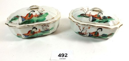 A pair of Chinese porcelain trinket or soap boxes and lids painted ladies