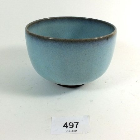A Chinese 18thC Jun Ware blue pottery bowl, 11cm diameter, hairline crack