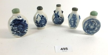 Five various Chinese blue and white porcelain snuff bottles