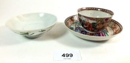 A Chinese tea bowl and saucer, painted figures and a Chinese sauce dish painted flowers