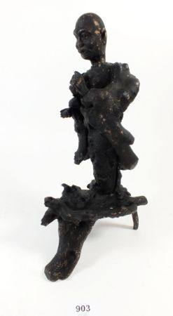 An Oriental root carving of a man, 29cm