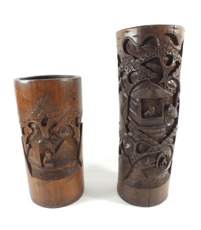 Two Chinese carved bamboo vases, 35 x 27cm