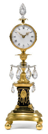A GEORGE III ORMOLU AND CUT GLASS 'CANDLESTICK CLOCK' TIMEPIECE  ATTRIBUTED TO WILLIAM PARKER, THE GILT GLASS PEDESTAL POSSIBLY DECORATED BY JAMES GILES, LATE 18TH CENTURY